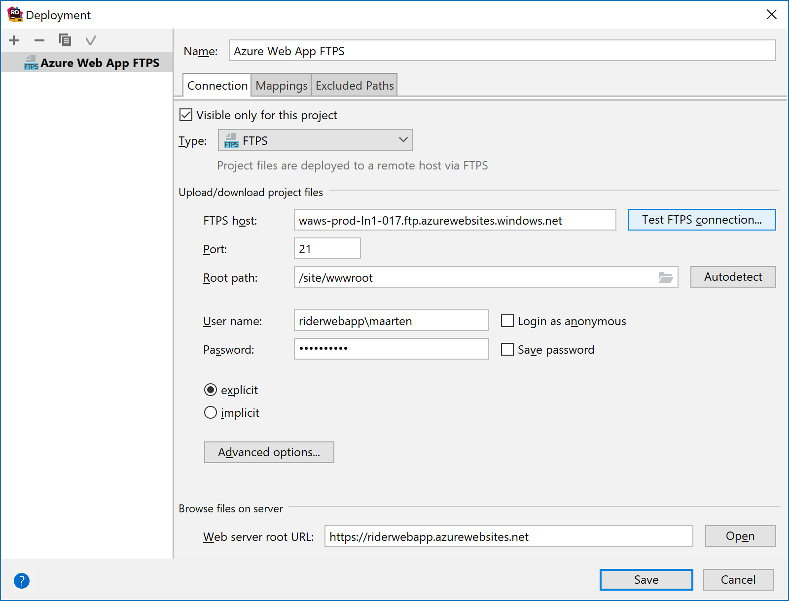Configuring deployment to an FTP(S) server in Rider