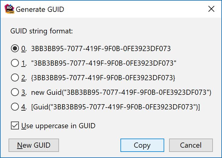 Generate a GUID in Rider