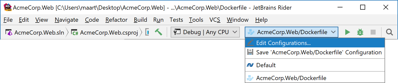 Rider toolbar displays new Docker run/debug configuration