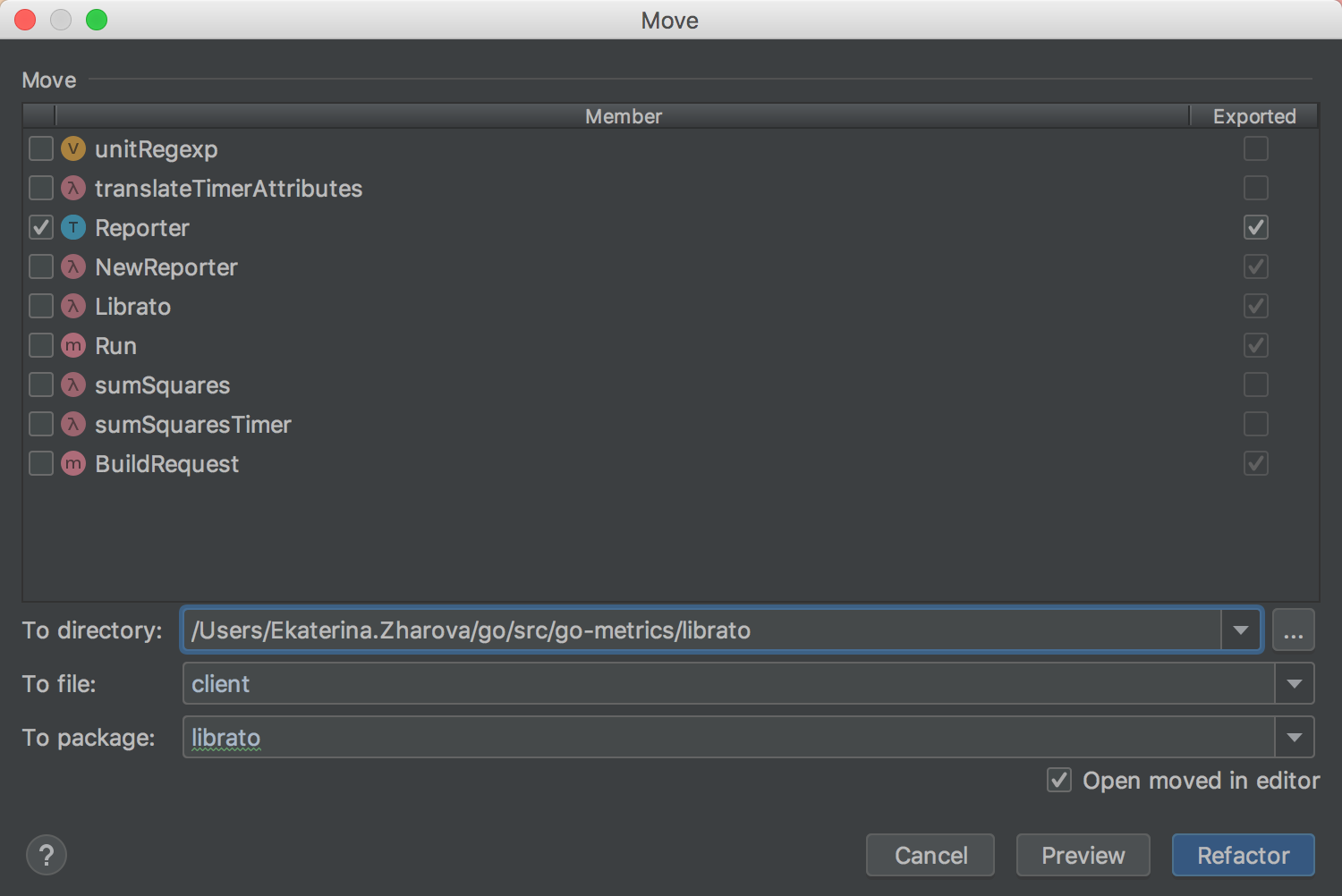 The new Move Refactoring dialog