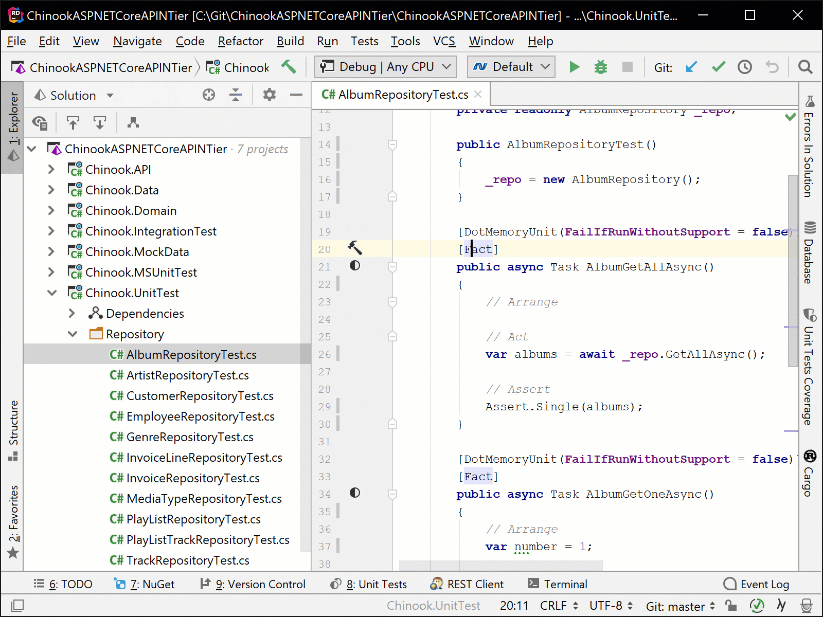 Navigating from a test method to the test in the Init Test Explorer
