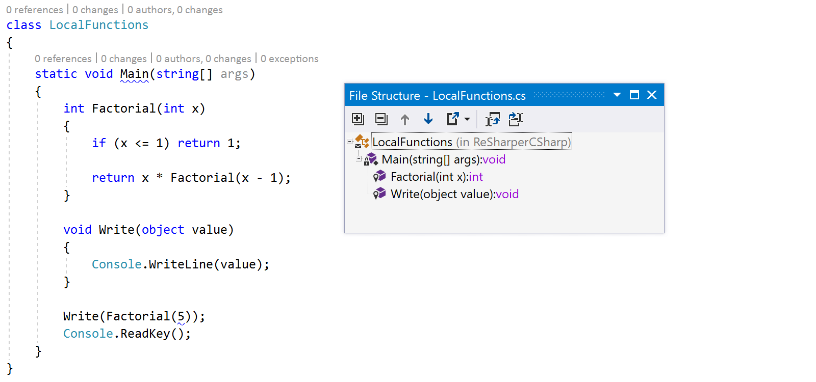 Local functions in ReSharper file structure tool window