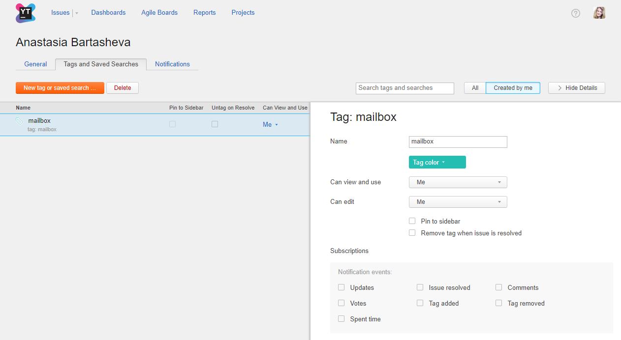 new tag mailbox