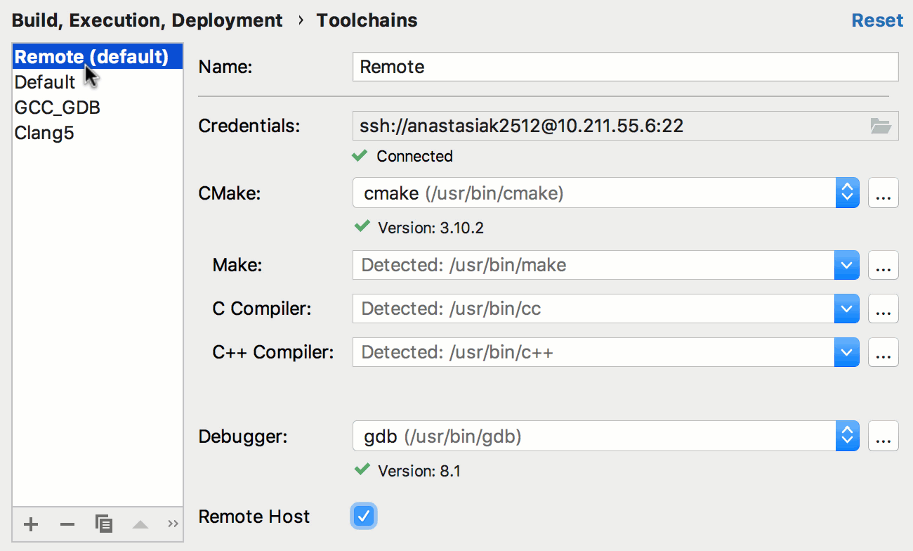 remote default toolchain