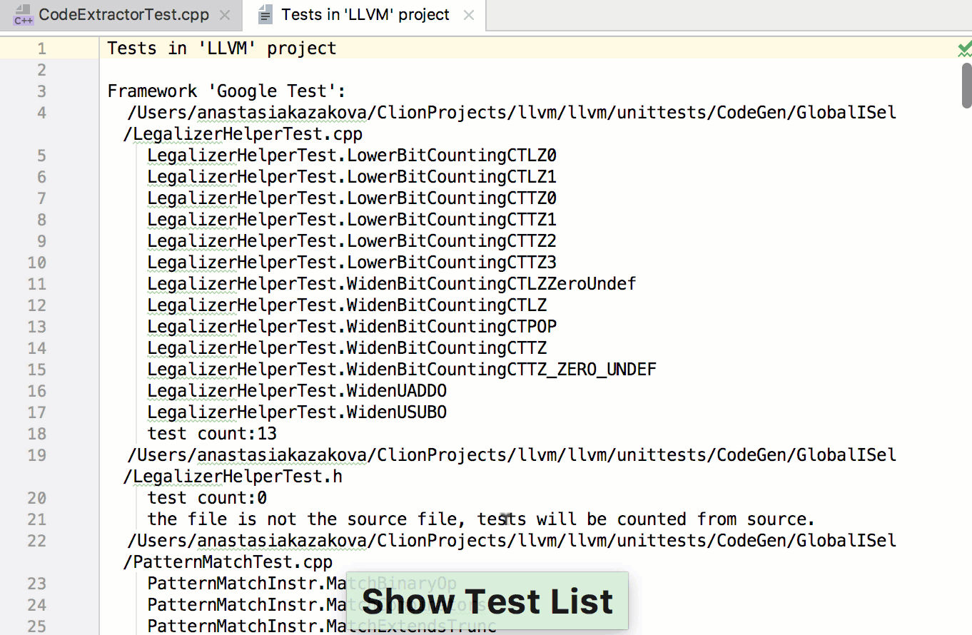 show test list