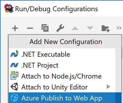Azure Publish to Web App run configuration