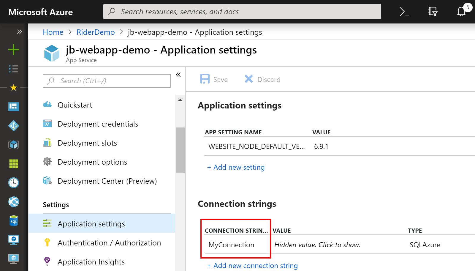 Connection string generated by Rider in Azure Portal