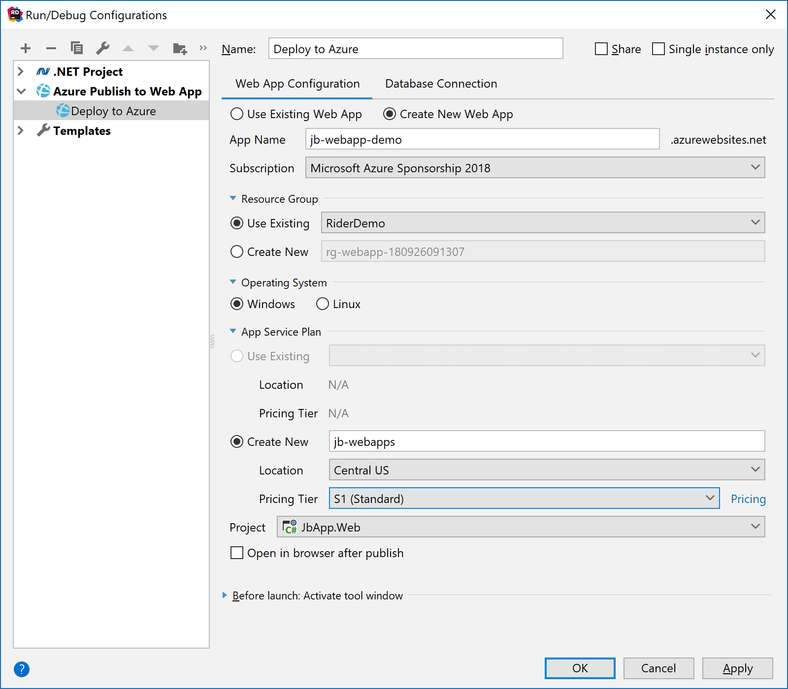 Configure Azure deployment in JetBrains Rider