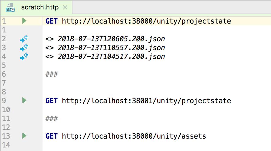 HTTP Request scratch file in editor