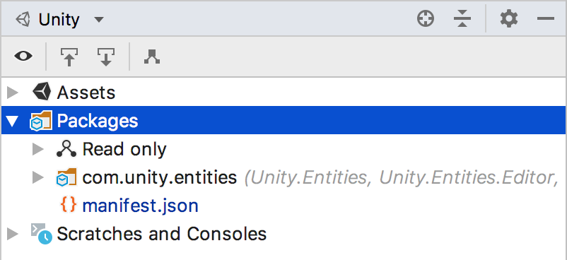 Unity explorer showing packages node
