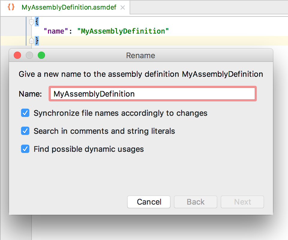 Rename assembly definition