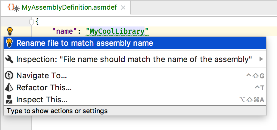 Rename file to match assembly definition name quick fix