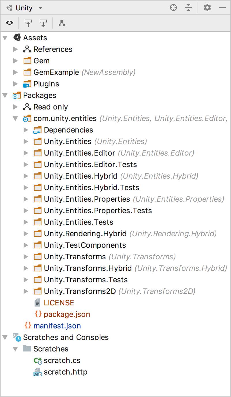 Unity explorer view tool window