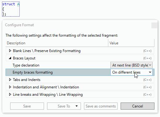 Configure format