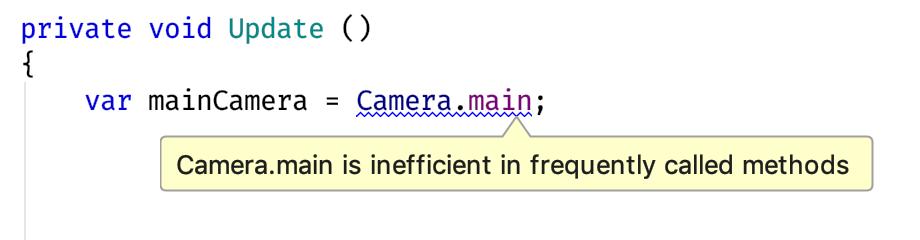 Camera.main is inefficient warning