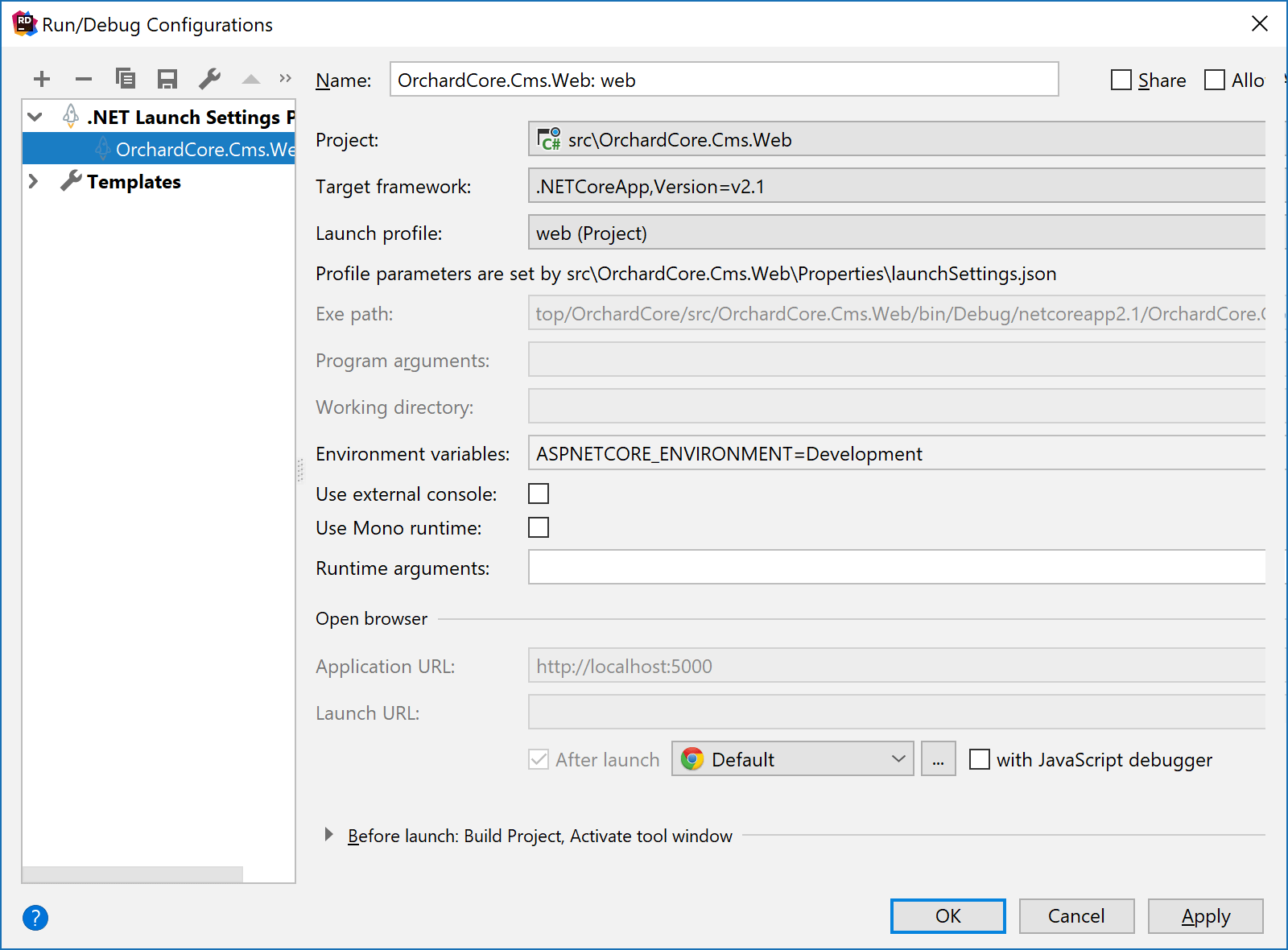 Editing a run configuration generated from launchSettings.json