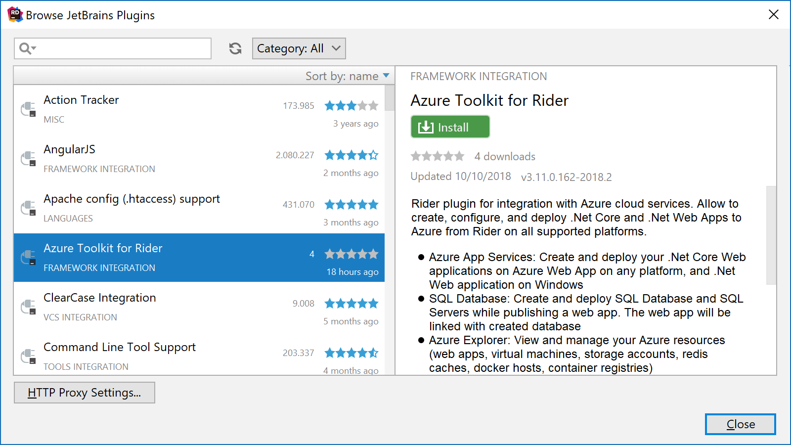 Installing the Azure Toolkit for Rider