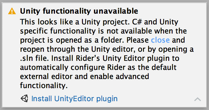 Notification explaining that Unity and C# functionality is unavailable