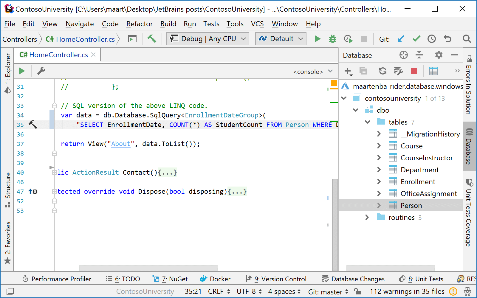 Run query from C# editor in database console