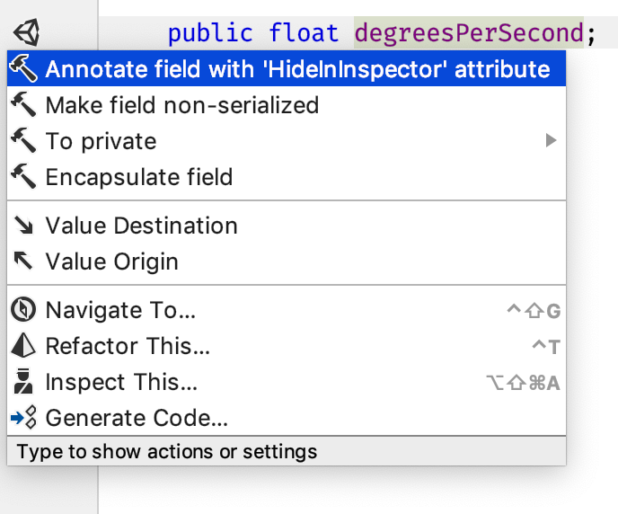 Toggle HideInInspector attribute context action