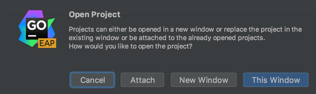 Attach button in Open Project popup