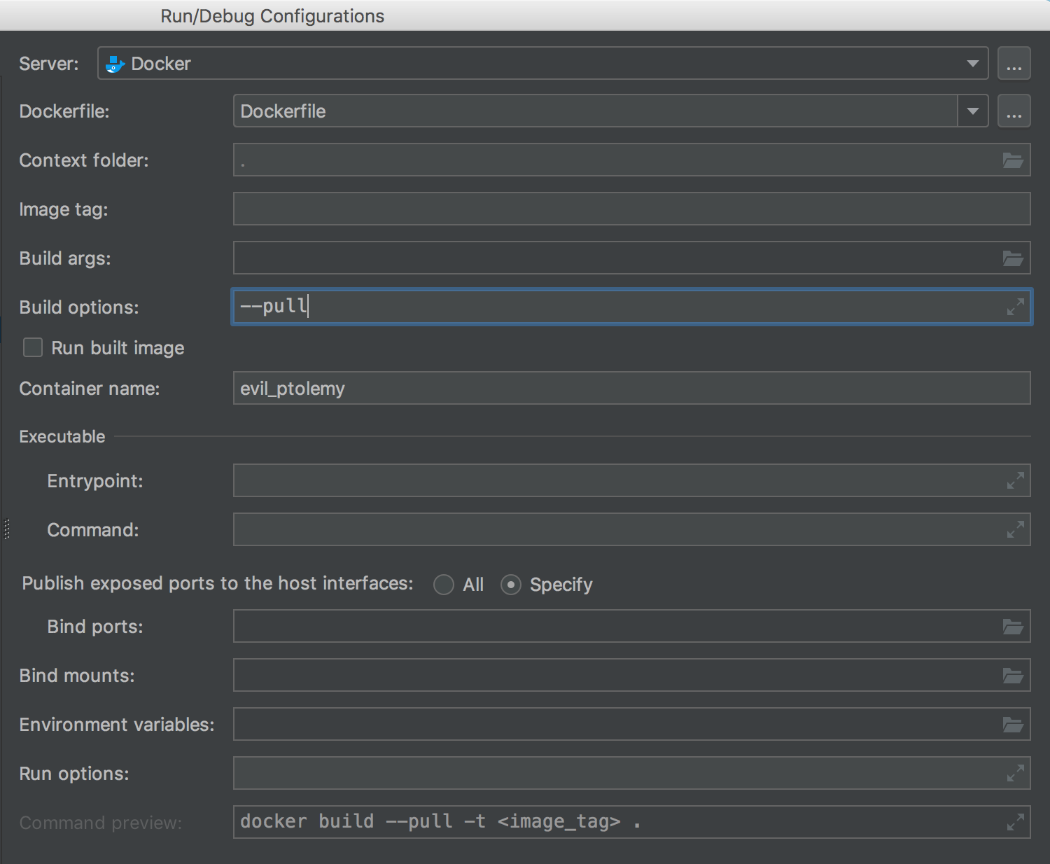 New Build options field in Dockerfile run configuration
