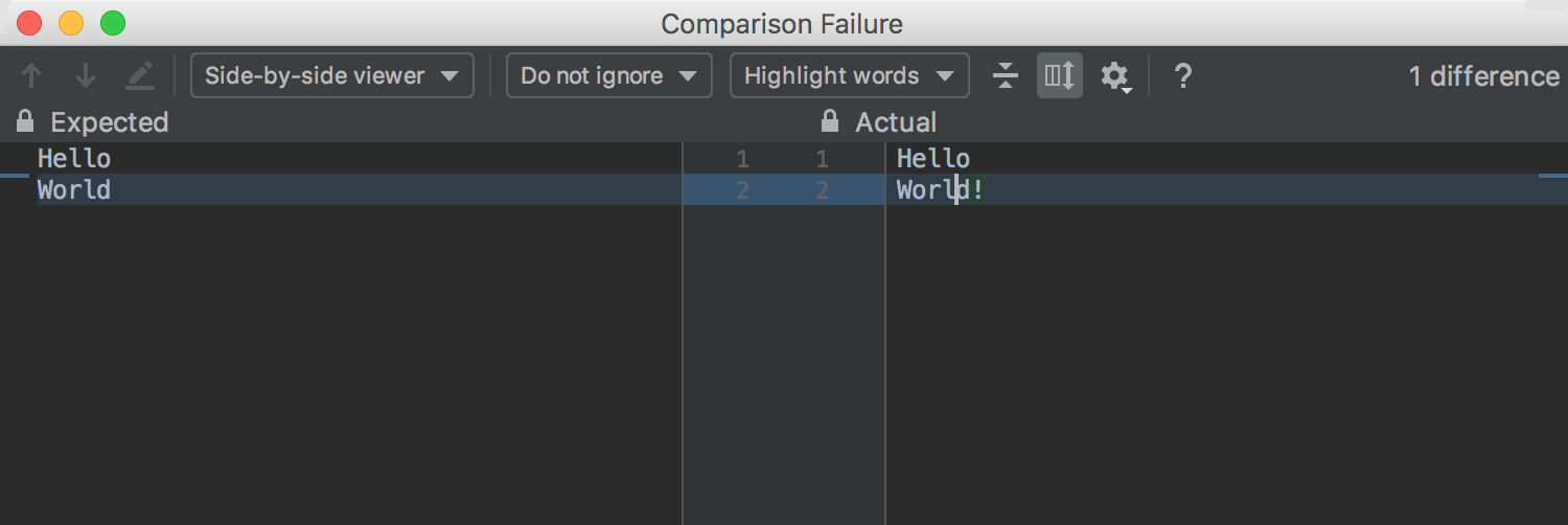 Failure window with the diff between the expected and actual values for failed assertions