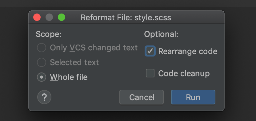 Advanced formatting dialog with Rearrange code check box enabled