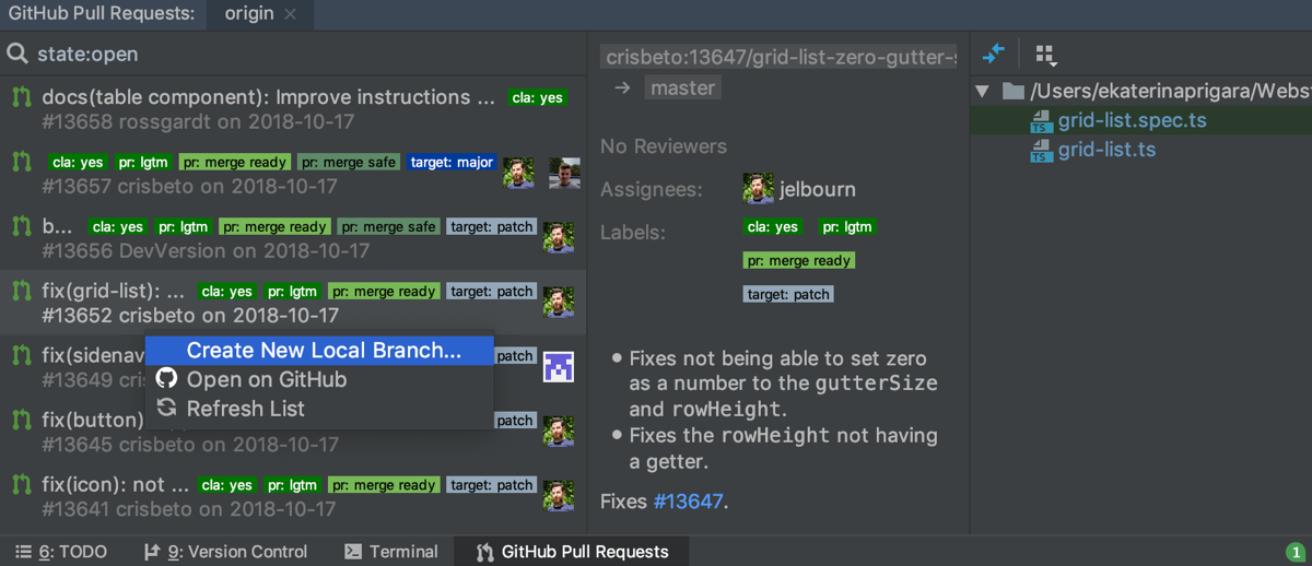 View GitHub Pull Requests