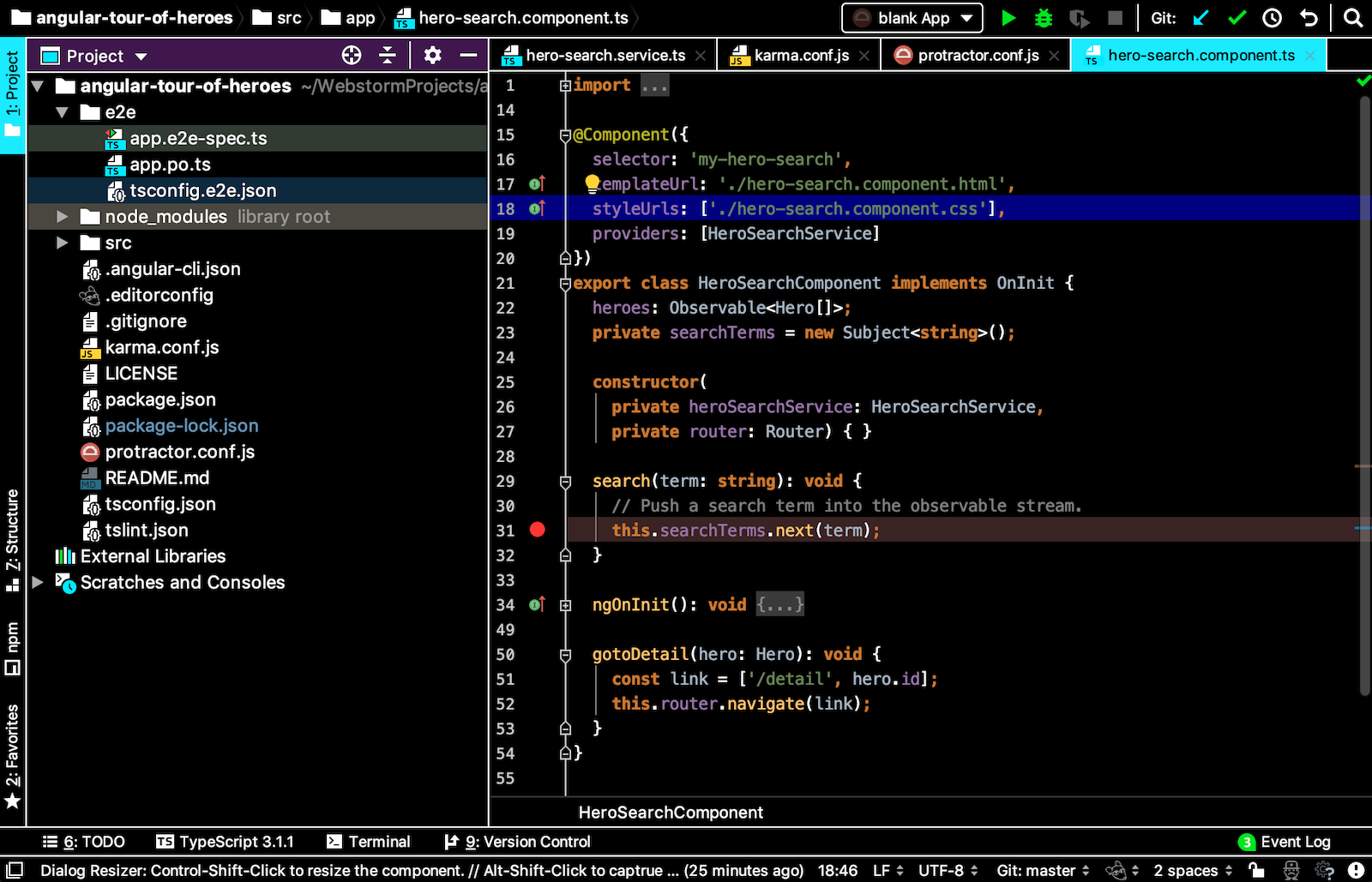 High contrast theme in WebStorm
