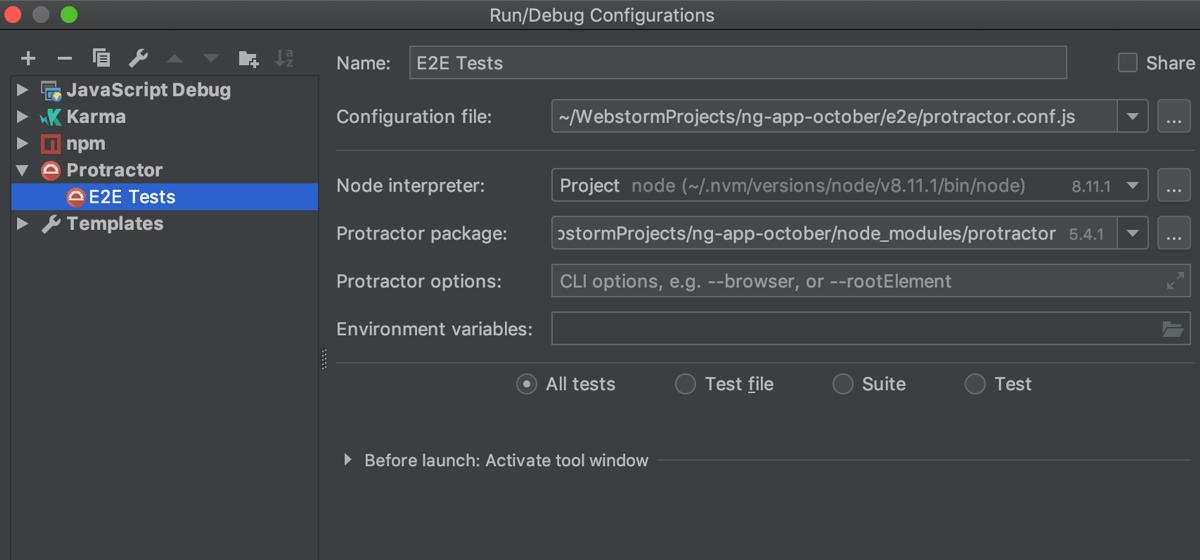Protractor run/debug configuration