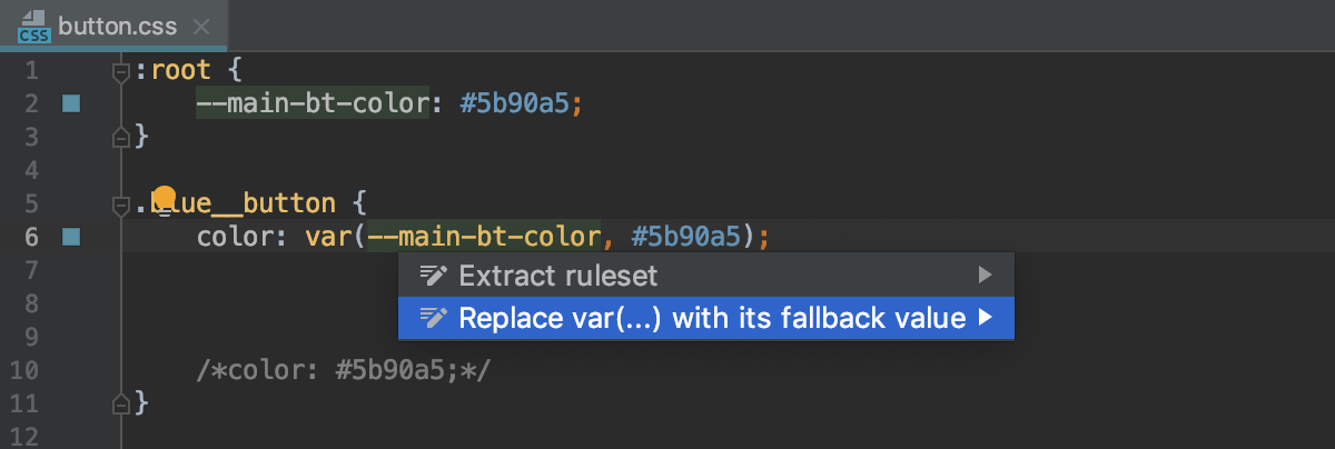 Replace CSS var() with the fallback value intention