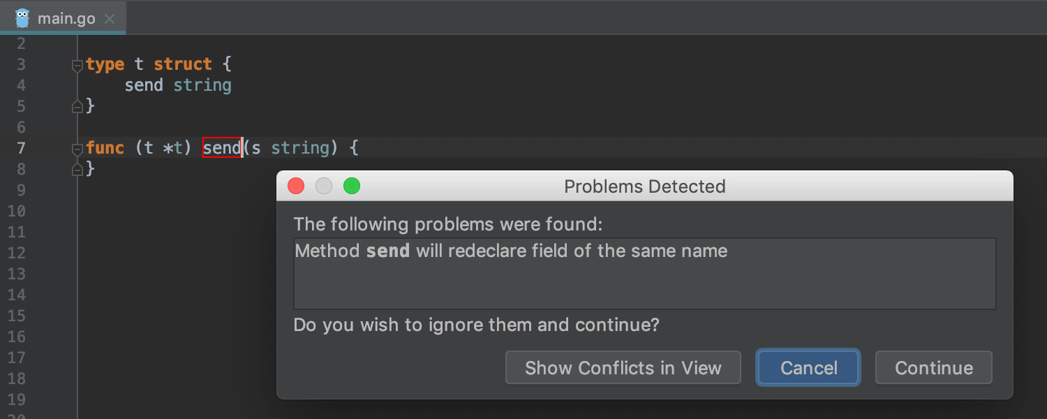The symbol name conflicts are displayed in the Problems Detected window