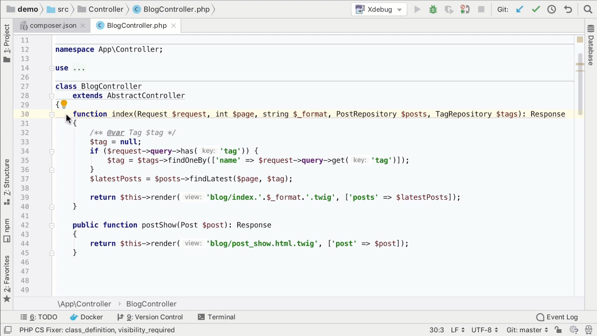 PHP CS Fixer fix file