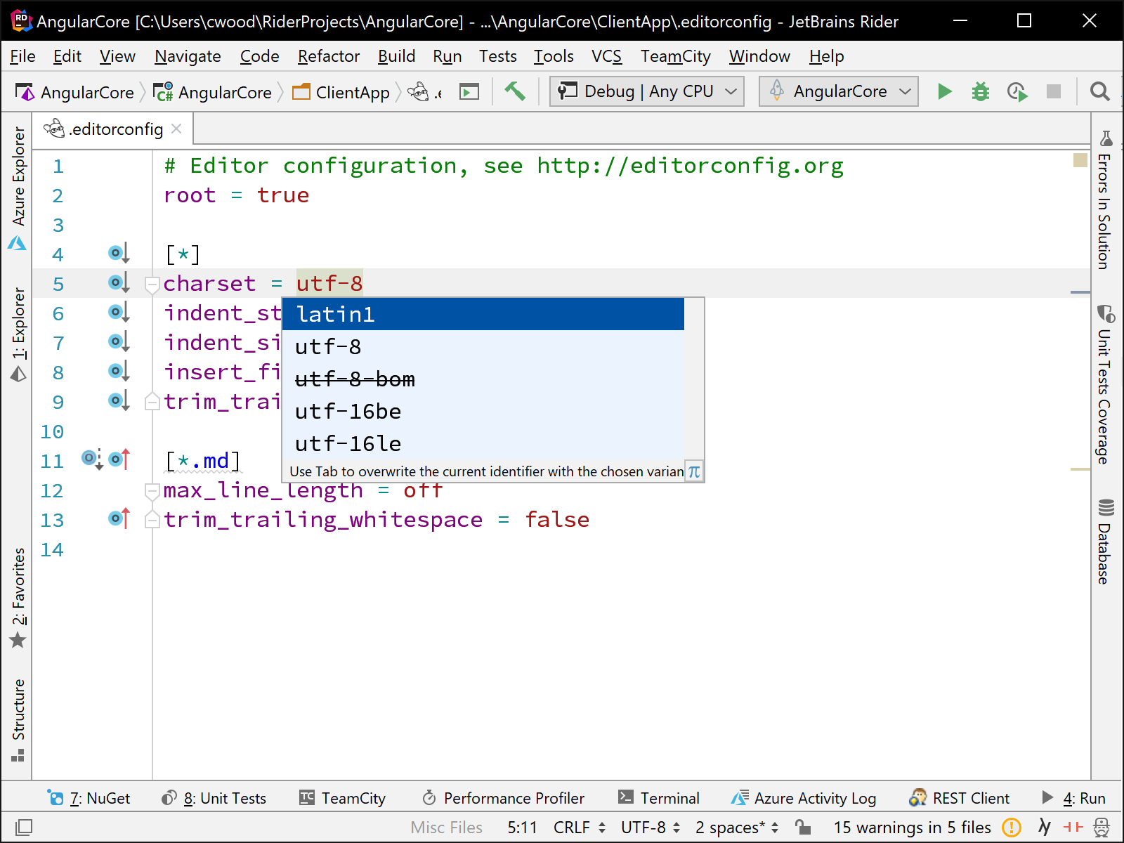 Working with <code>.editorconfig</code> files