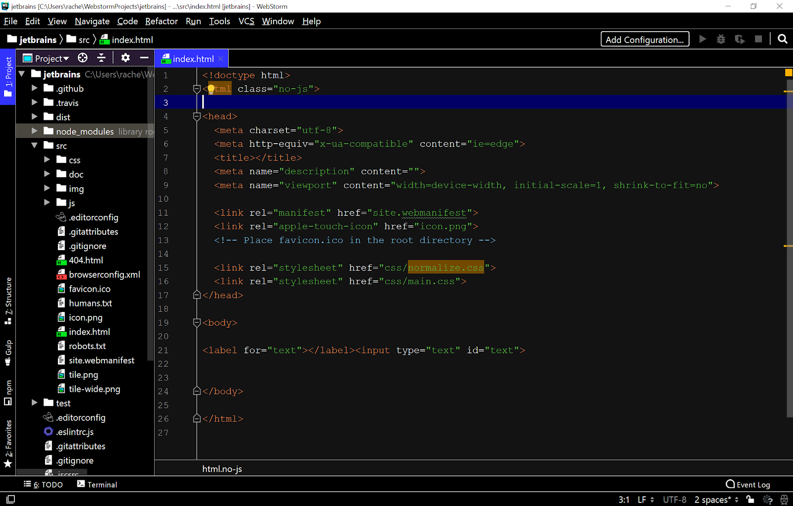 WebStorm offers a high-contrast theme for the visually impaired