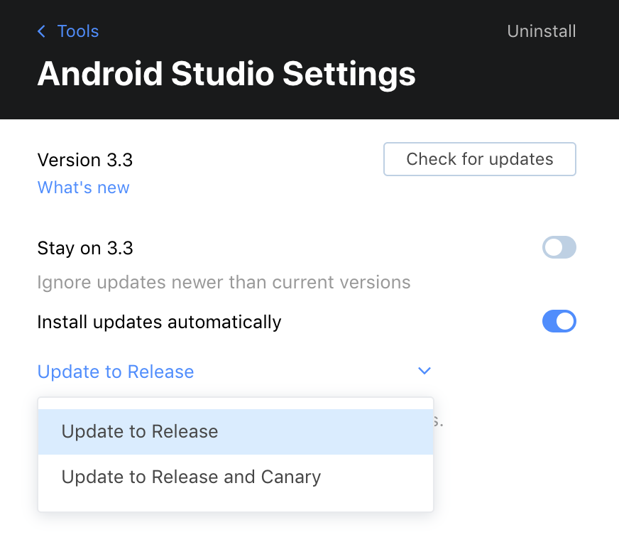 Android Studio Settings in Toolbox App 1.13