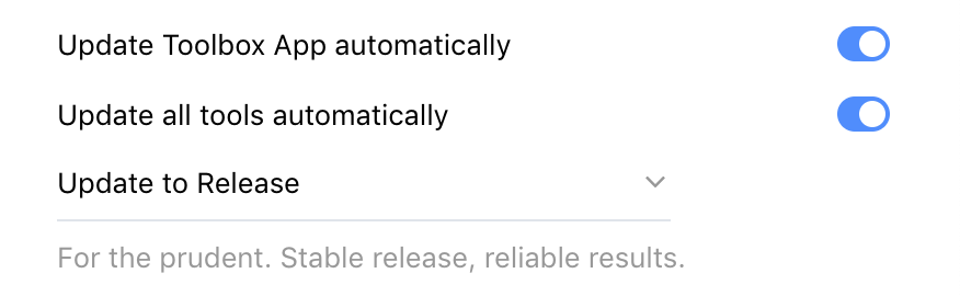 """Update all tools automatically"" toggle in Toolbox App"