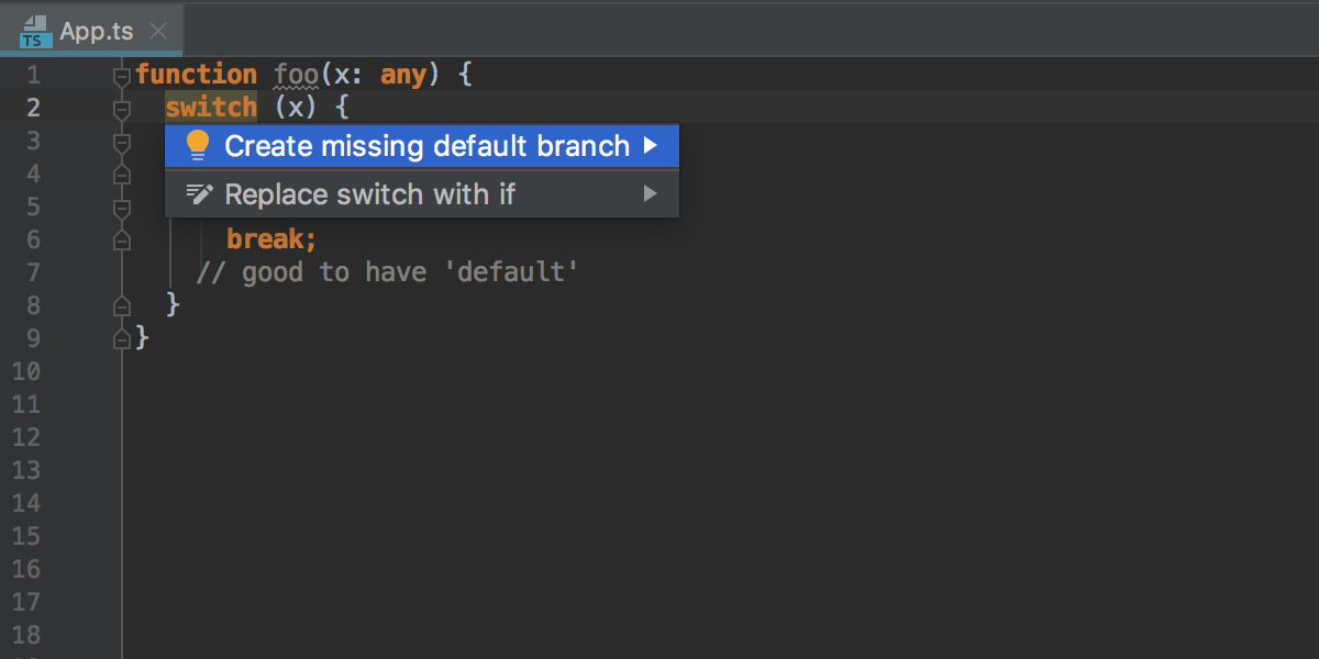 Create a default branch inside switch