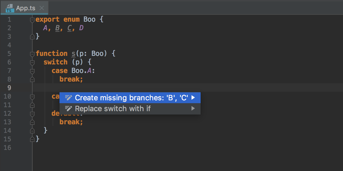 Create missing branches inside switch