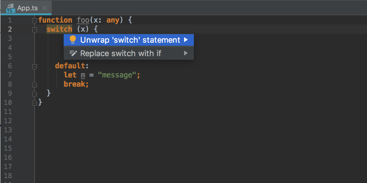 Unwrap default clause inside switch