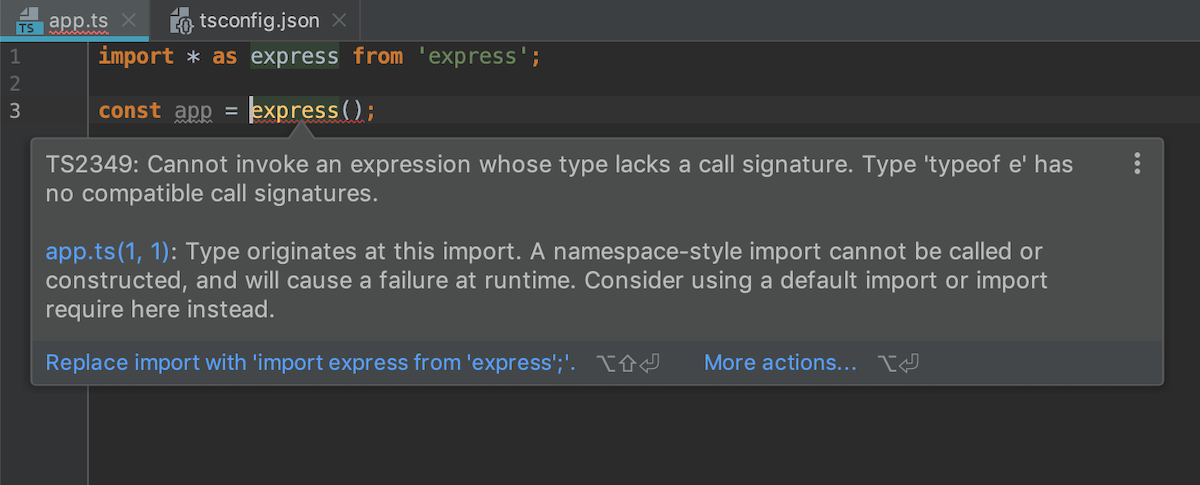 Extended error info in TypeScript