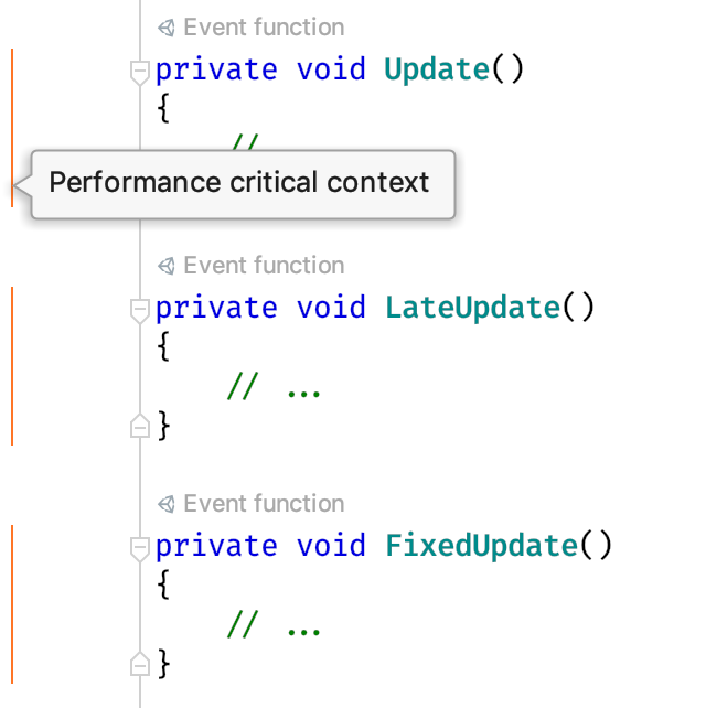 Performance indicators in the editor gutter for event functions