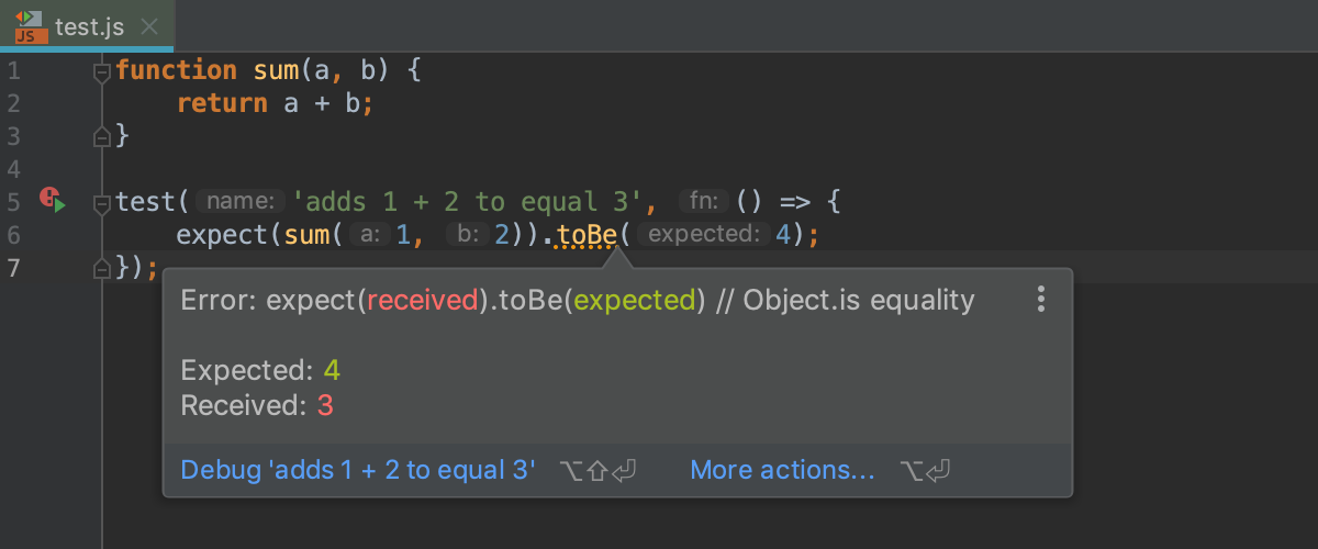 Highlighting for the failed line in test