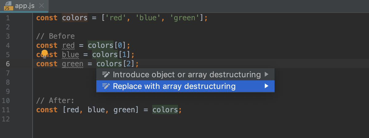 Replace with destructuring