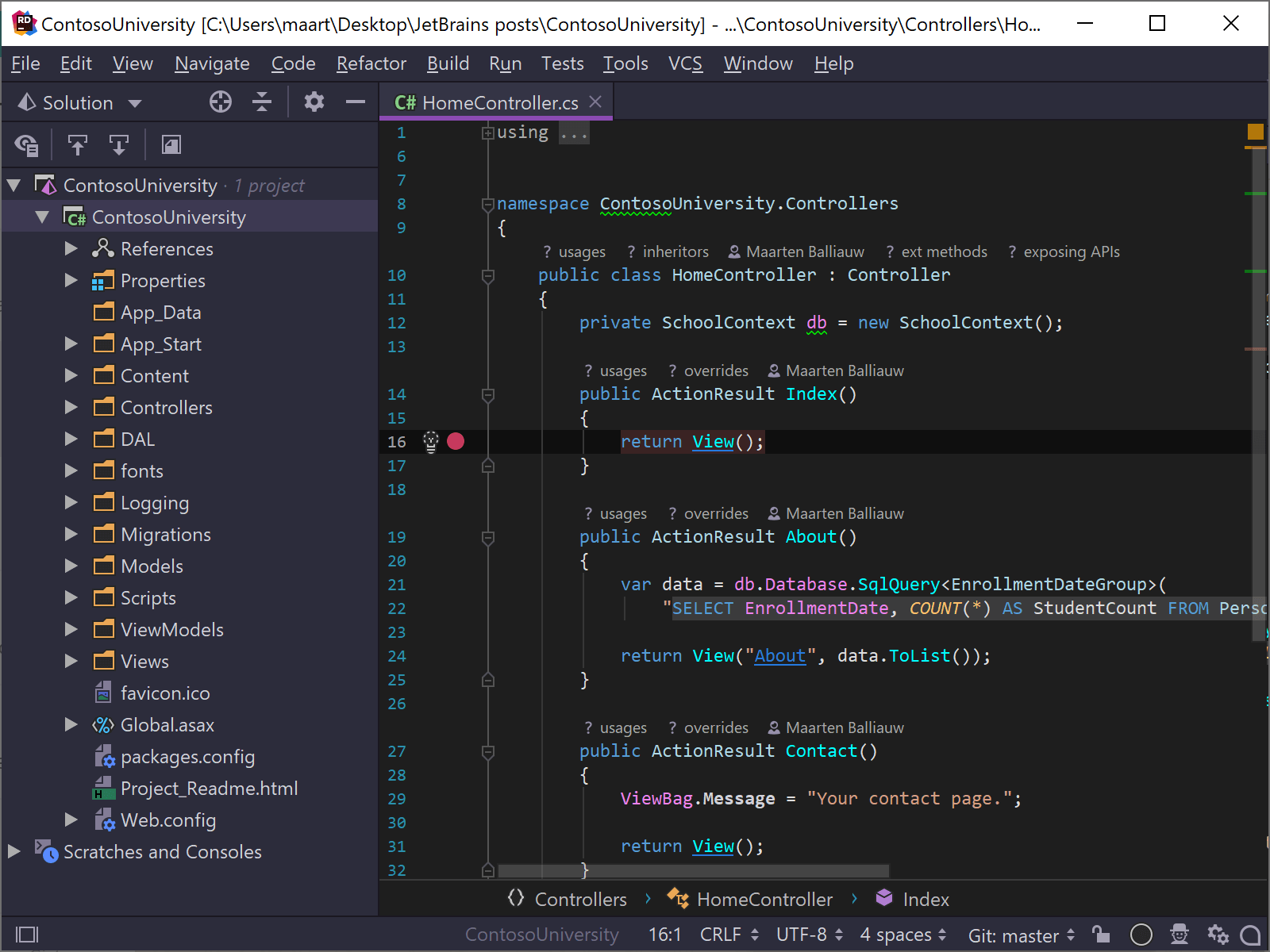 Preview of the new Dark Purple Theme in Rider
