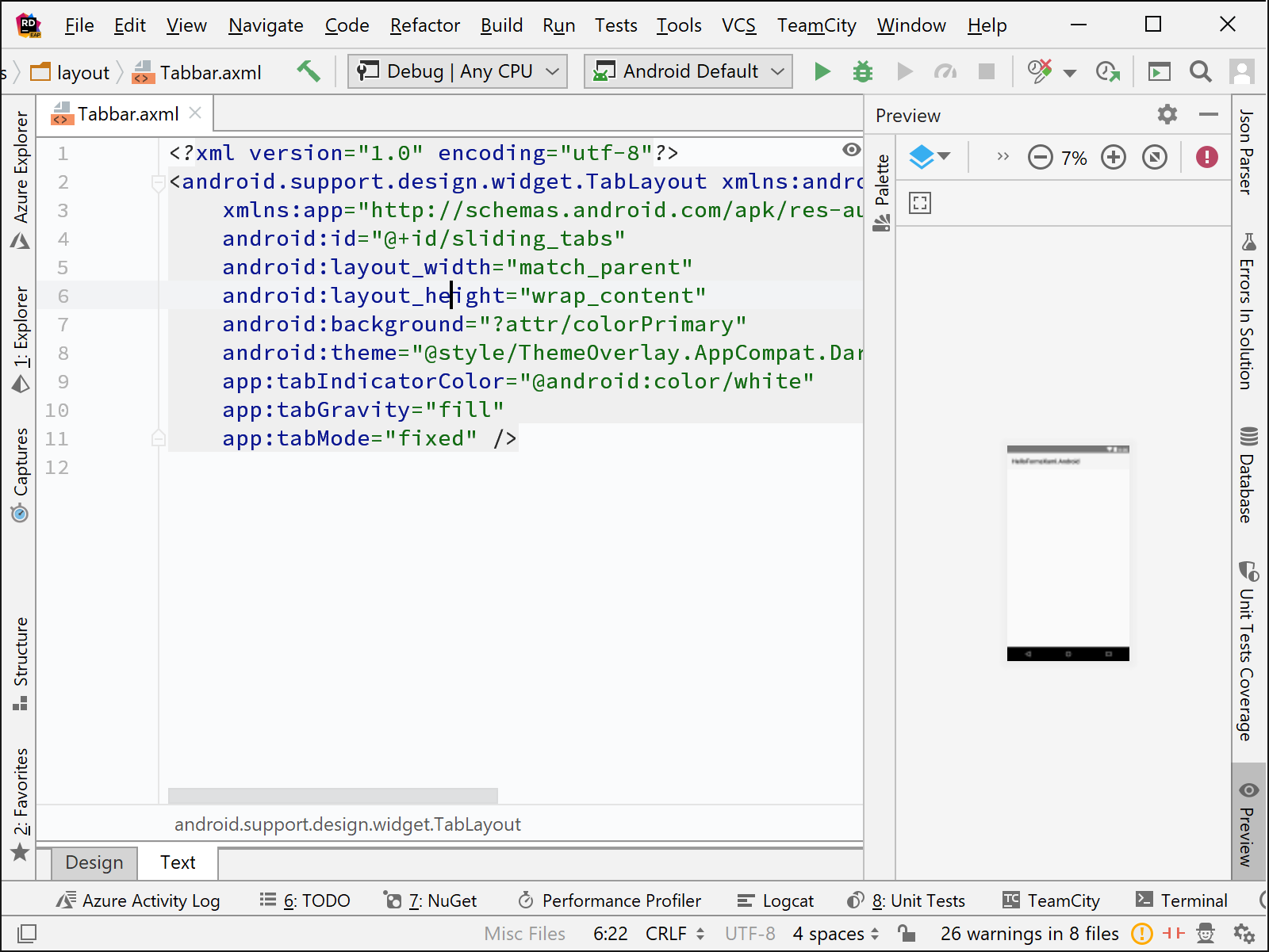 Rider'sXamarin AXML Code Editor