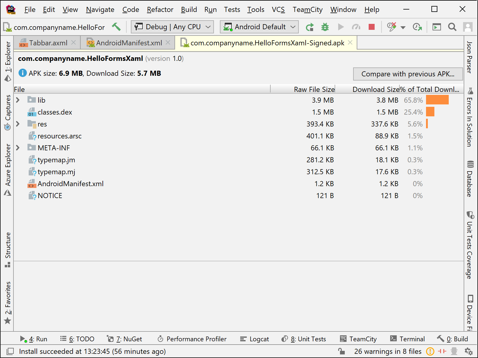 Rider's Xamarin Analyze APK Window