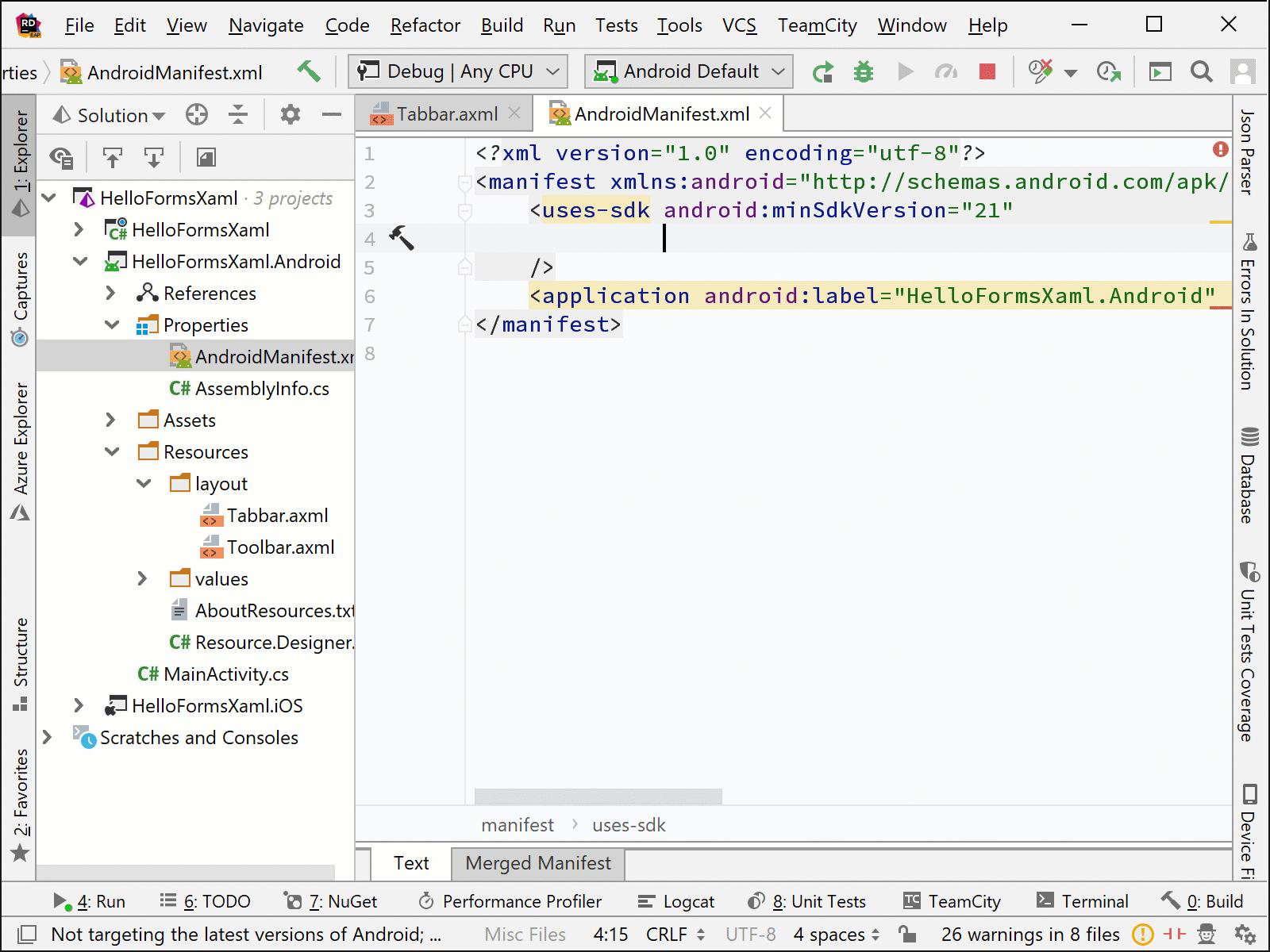 Rider's Xamarin Manifest XML Completion