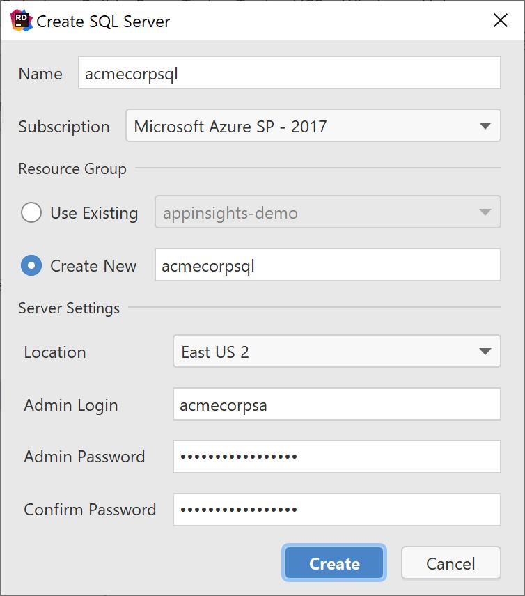 Create Azure SQL database (server)